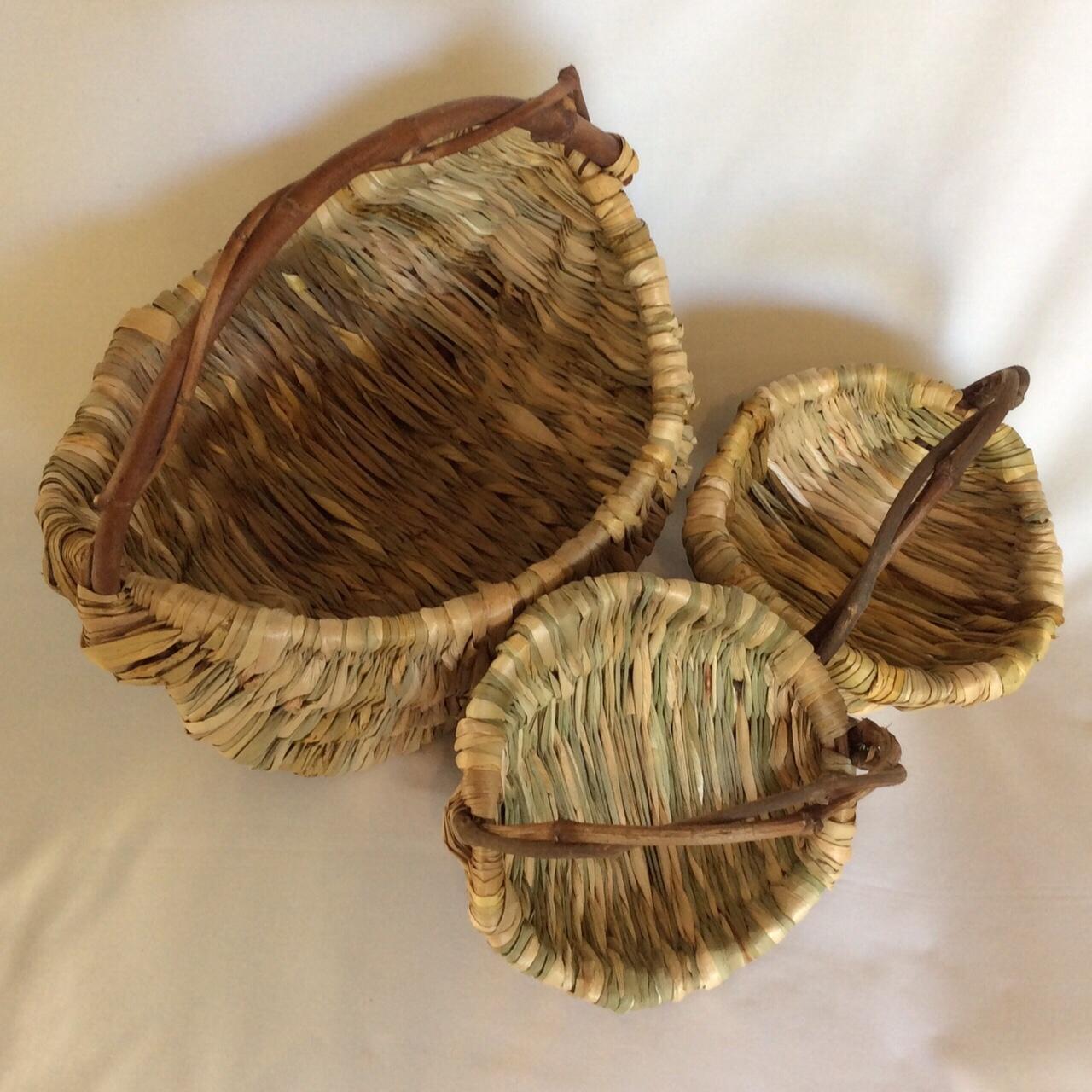 Trio Of Melon Baskets, Materials - Cumbungi, Eleocharis, Grapevine, And Euc. Cinarea, By Lynn Lochrie.